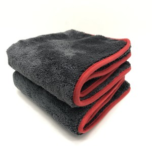 Red Border Edge Microfiber Coral Fleece Towel for Car Detailing