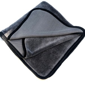 Single Twisted Loop Drying Towel Gray Color Microfiber Car Drying Cloth