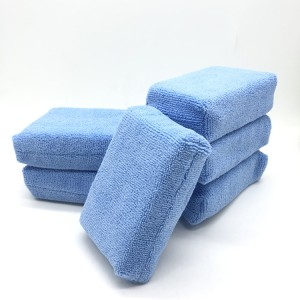 Blue Color Warp Knitted Wrap Sponge Applicators Car Washing Pad