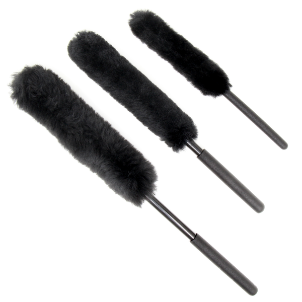 Extended Reach Handle Wheel Wool Brush Kit for Car Internal & External,Black Featured Image