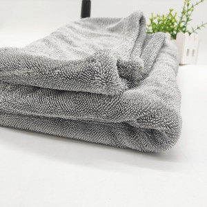 Microfiber twist loop towel light grey large size drying car towel