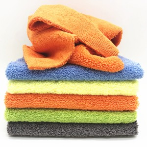 Soft Microfiber High Low Piles Towel Two Faces Microfiber Car Polishing Towel