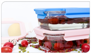 Borosilicate glass food container with ms lid with LOCK &LOCK Tab