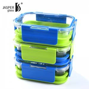 Double Layer Glass Lunch Box with MS Material Lid