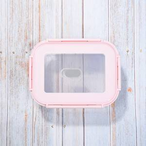 Double Color PP Lid High Borosilicate Glass Food Container