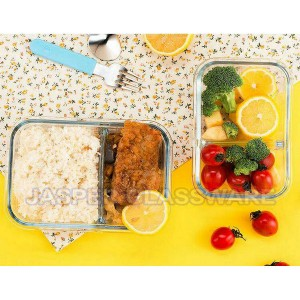 Hot Selling Economical 2-Compartment Glass Meal Prep Food Containers with vent lid