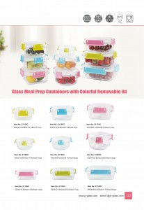 Jasper Glass Meal Prep Food Storage Container with Coloful Romovable Lid