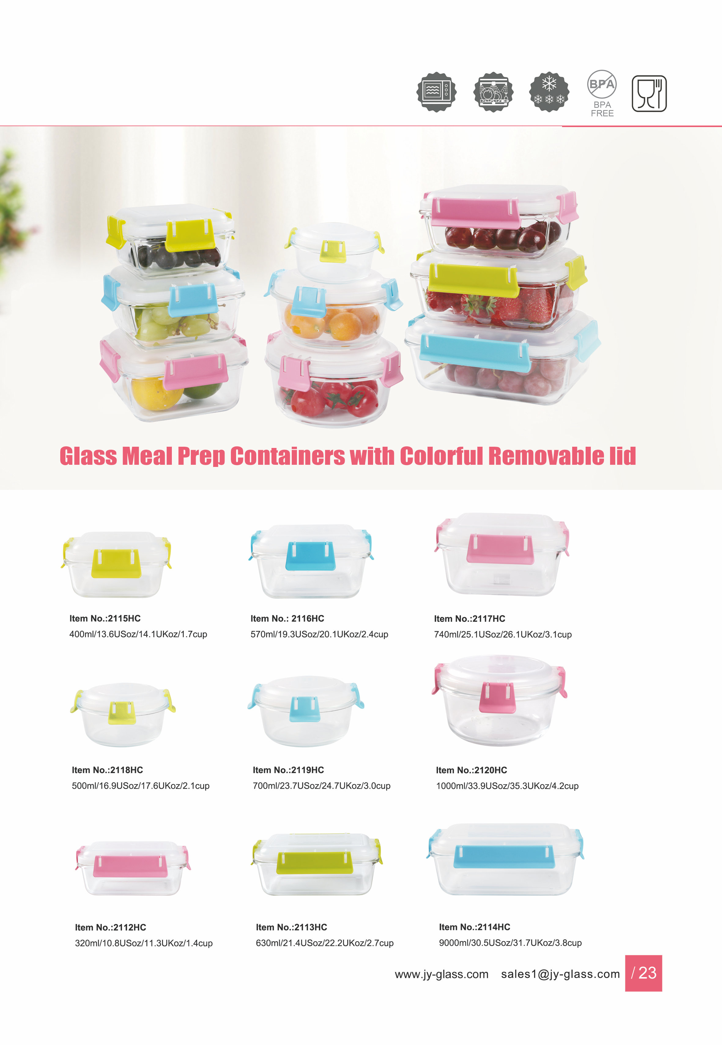 Jasper Glass Meal Prep Food Storage Container with Coloful Romovable Lid Featured Image