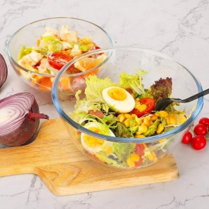 Multi-size heat-resistant high borosilicate glass transparent salad bowl set