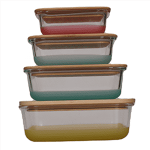Amazon Hot Promotion Spray Silicone Glass Food Container With Bamboo Lid