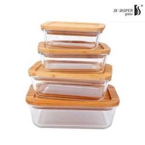 New Design Glass Meal Food Container With Bamboo Lid