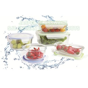 Jasper Nestable Glass Meal Prep Food Storage Containers with Snap Lids