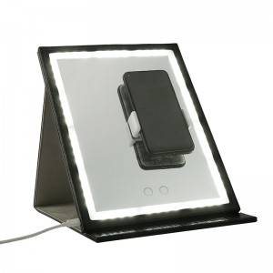 PU LED FOLDED MIRROR WITH PHONE HOLDER