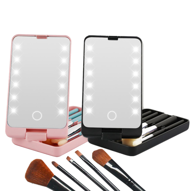 False Eyelashes Case With Lighted Makeup Mirror