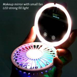 LED POCKET MIRROR WITH FAN