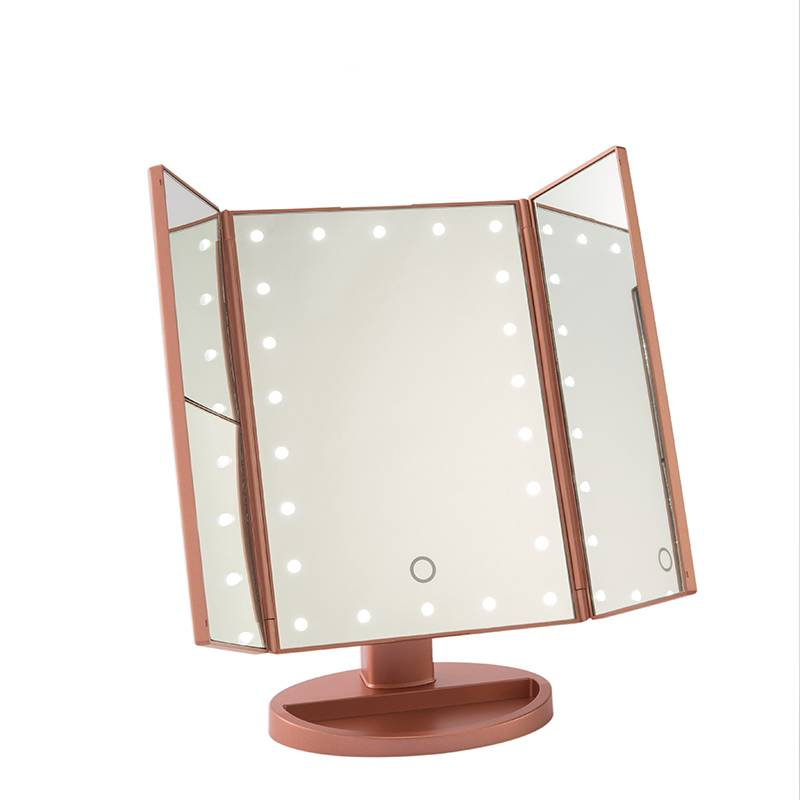 TRI-FOLD TABLE MIRROR WITH 16/22PCS LED LIGHTS Featured Image