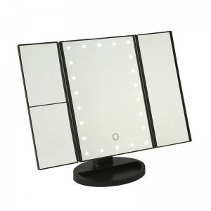 TRI-FOLD TABLE MIRROR WITH 16/22PCS LED LIGHTS