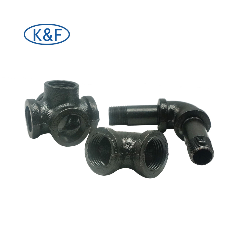 Black Malleable Iron Fittings Steel Pipe Nipple Electroplated Finish for Home LOFT Decoration