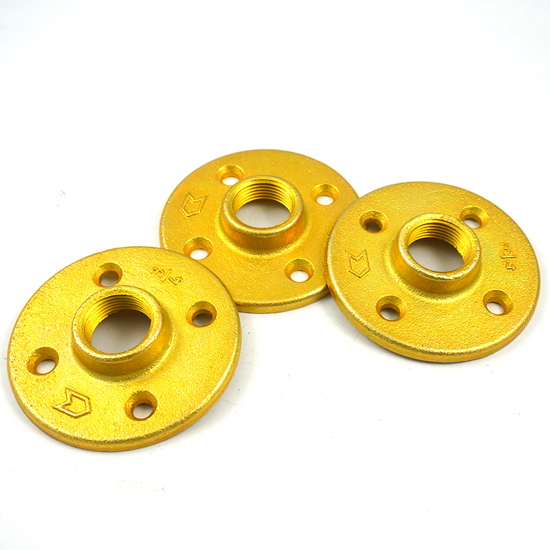 Golden DN20 industrial pipe shelf pipe furniture parts black floor flange