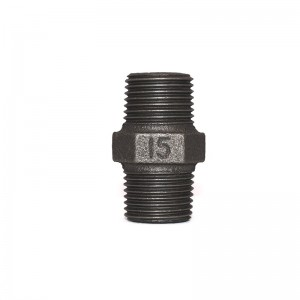 280 Malleable Iron Hexagon Nipple Black Finish Banded BSP NPT Threaded Cast Iron Fittings