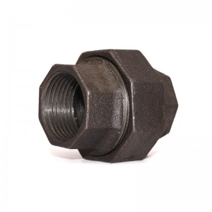 330 Malleable Iron Flat Seat Union Black Finish Banded BSP NPT Threaded Cast Iron Fittings