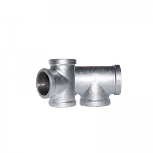 130 Malleable Iron Tee Hot Galvanized Equal Banded BSP NPT Threaded Cast Iron Pipe Fittings