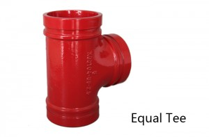 1 inch grooved ductile iron pipe fittings tee with red paint