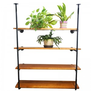 Solid Malleable Iron Pipe Wood Shelf 4 Tiers Commodity Shelf Bookshelf