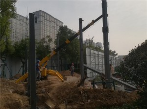 Mini crane rental works — construction steel structure works