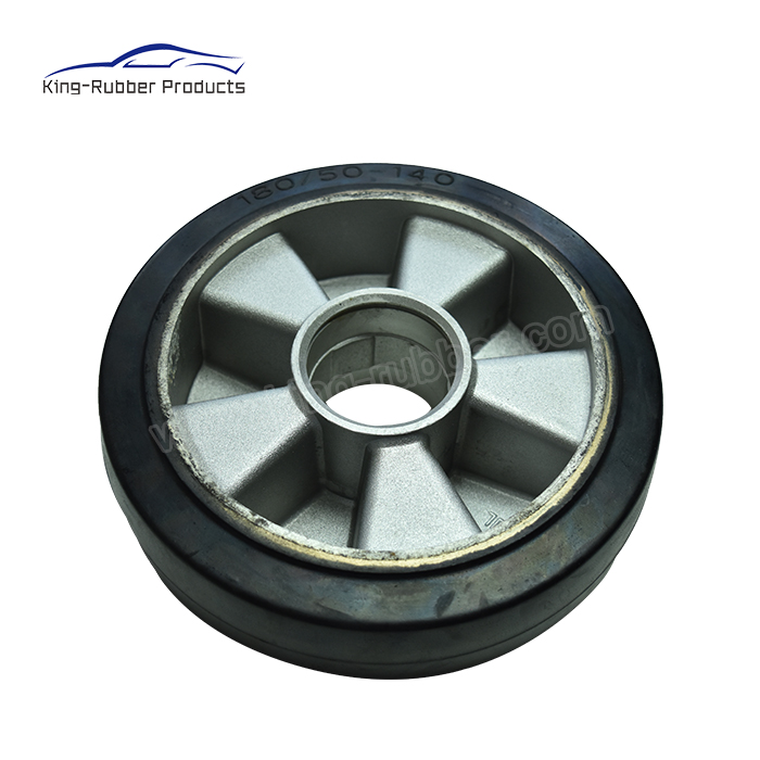 SMOOTH PATTERN SOLID RUBBER TIRE CAST IRON CORE HEAVY LOAD INDUSTRIAL CASTER WHEEL,RUBBER ROLLERS Featured Image