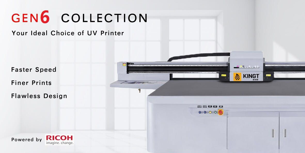 Why Choice uv flatbed printer with Ricoh Gen6 printheads in industry manufacture