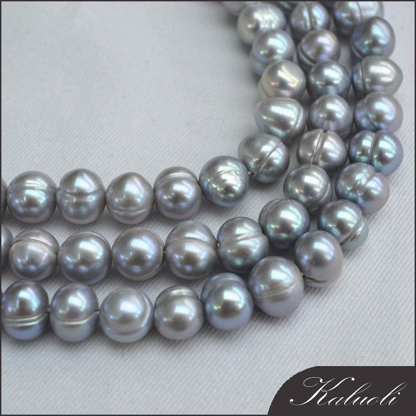 Wholesale 9-10mm potato grey colourful pearl