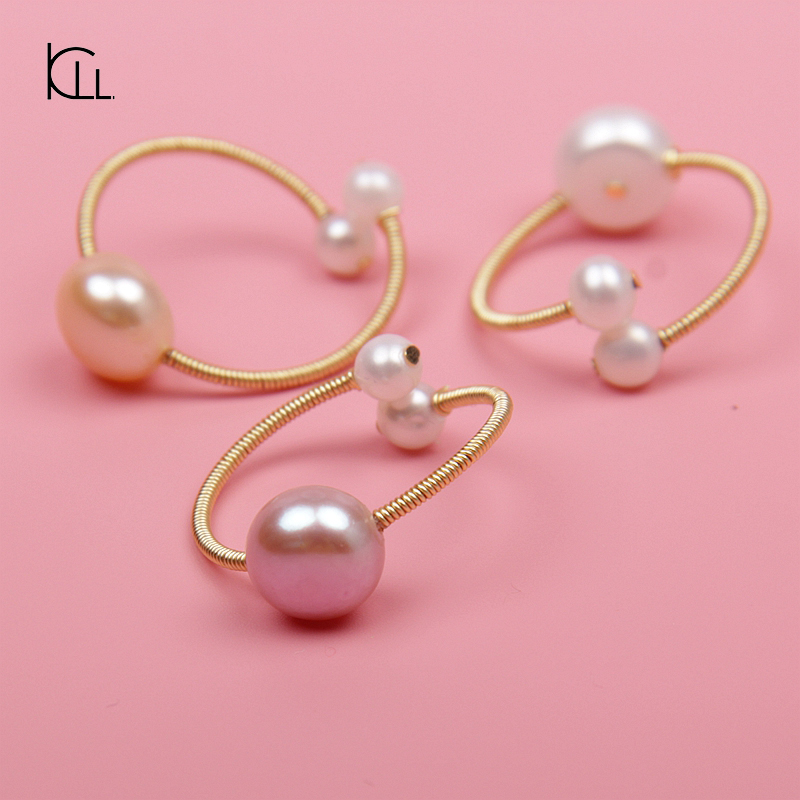 Genuine fresh water 9.5mm AAA pearl women stretch ring jewelry