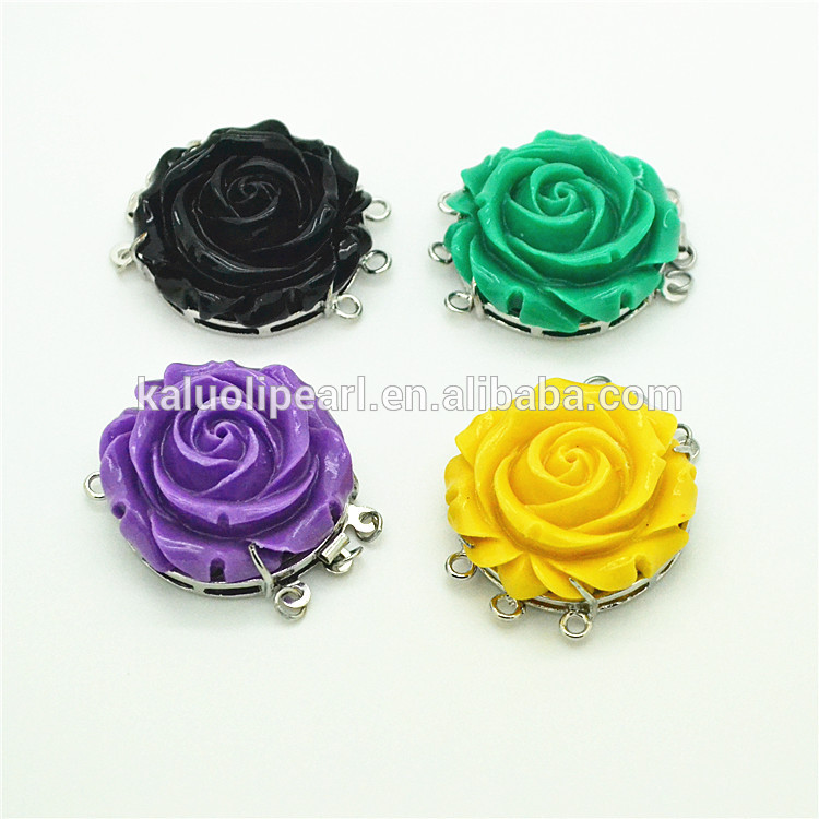Green rose carving mother of pearl flower 3 strands clasp for necklace