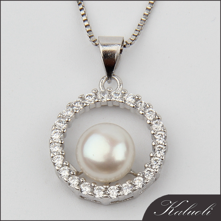 Girlfriend pure 925 silver pearl stone pendant necklace