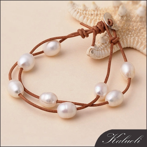 Custom natural pearl and new fashion leather bracelet jewelry