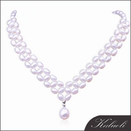 charm jewelry wedding jewelry beads rice freshwater pearl necklace wholesale