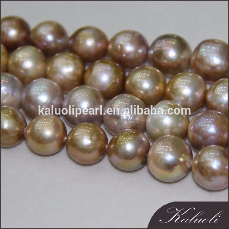 12-15 mm round AA natural purple edison pearls string