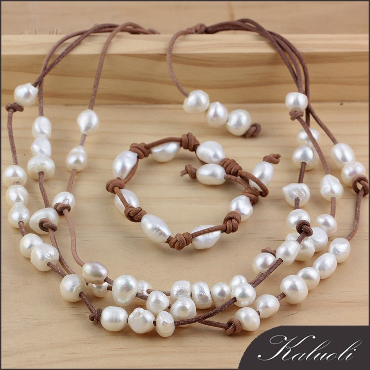 Wholesale fashion genuine leather pearl jewelry set