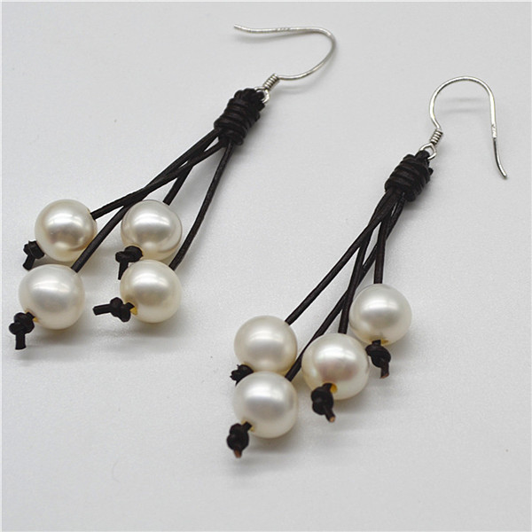 New style handmade leather wrap pearl earing designs