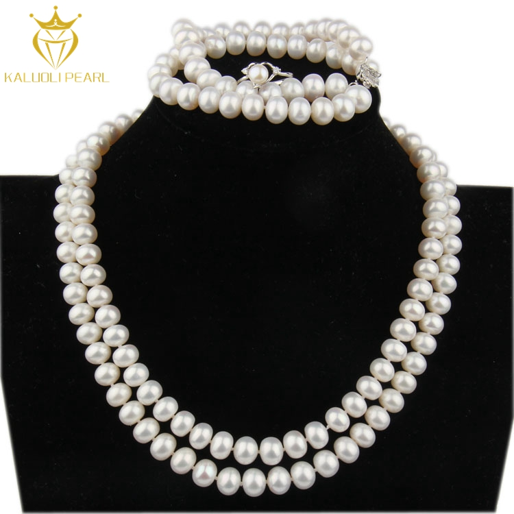 Female beautiful classic bracelet ring necklace design indian bridal pearl jewelry sets