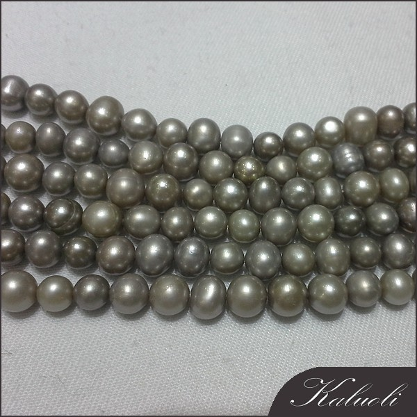 Wholesale 7-8 potato grey dyed pearl strand la perla