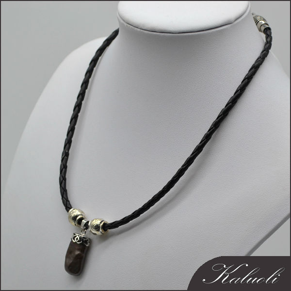 Nice square men black genuine leather pearl necklace