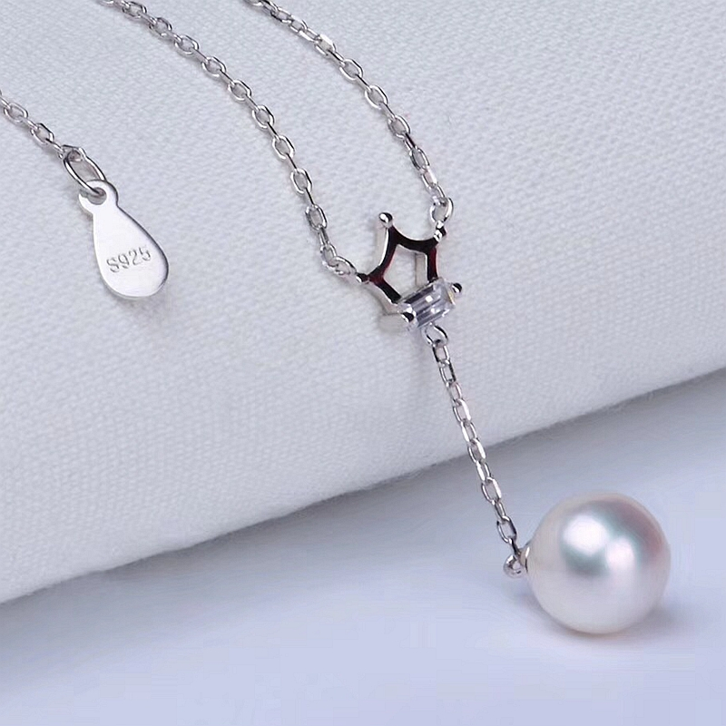 Chic crown S925 pearl necklace June birthstone jewelry pendant