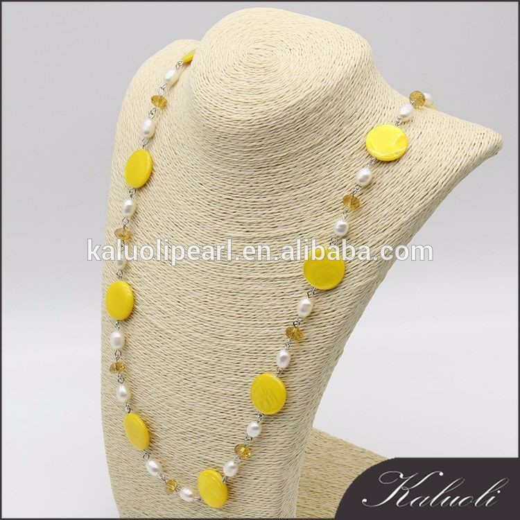 80 cm elegant pearl and sea shell necklace for ladies