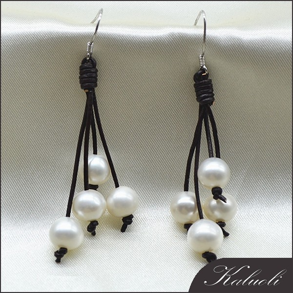 Fashionable hand made earrings leather pearl earrings