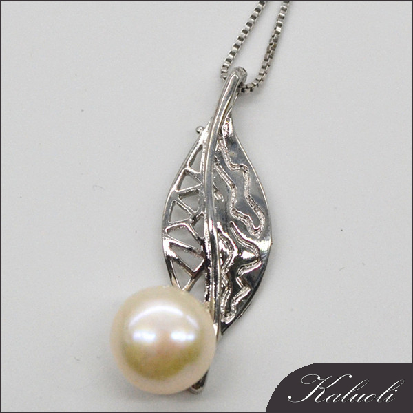 Carved leaf 10-11mm freshwater pearl pendant china jewelry sale