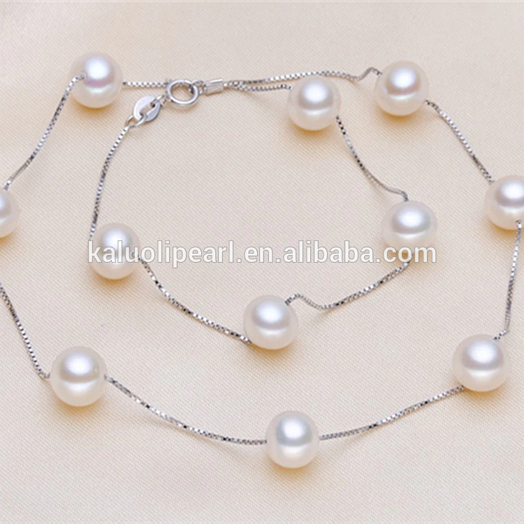 2015 new arrival round real pearl silver 925 set