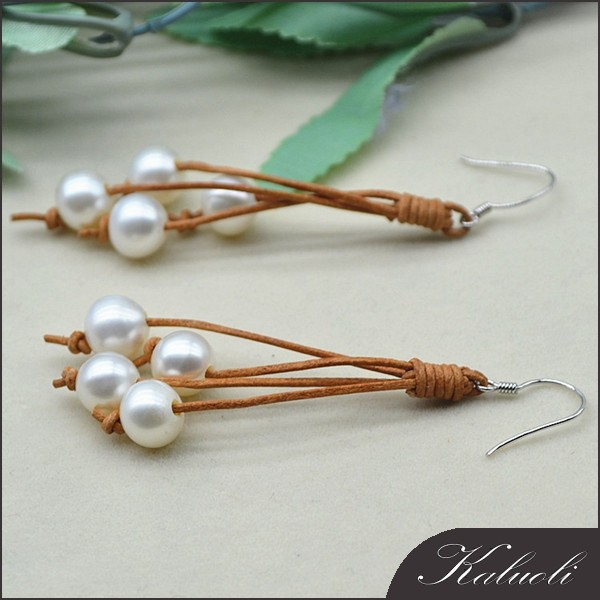 Latest design of pearl earrings unique handmade leather pearl earring