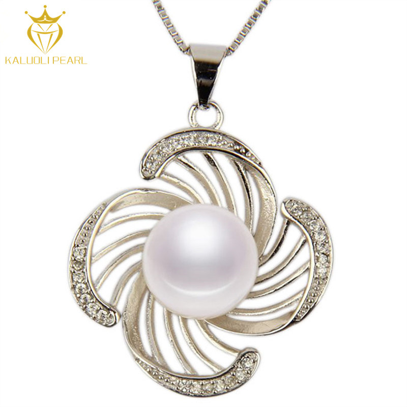 China cheap sale modern beautiful shining zircon 925 silver nature pearl pendent necklace